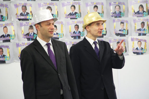 In July last year on a visit to School21 in Newham, Lord Adonis took part in a classroom activity. Also pictured (left) is Peter Hyman