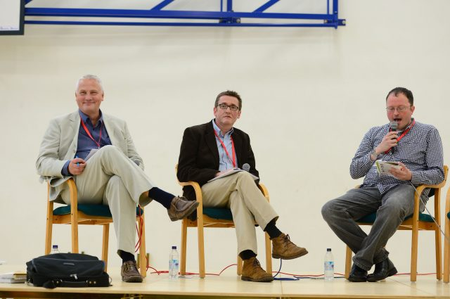 Mike Cladingbowl, Ofsted schools director  and Sean Harford, Ofsted initial teacher education director with education blogger Andrew Old