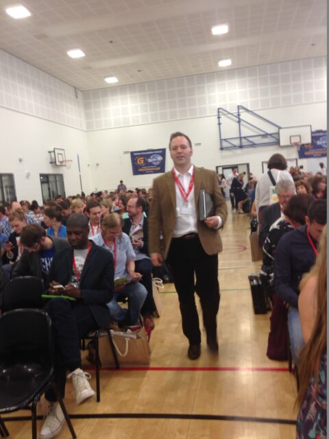 Teacher and researchED founder Tom Bennett prepares to take the stage