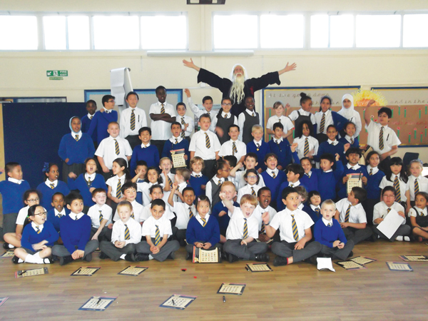 The good Wizard Aduro visits St Nicholas' Catholic Primary School
