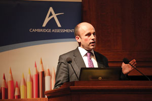 Giving a speech at a Cambridge Assessment seminar