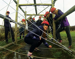 GCSE students on the assault course at their annual boot camp