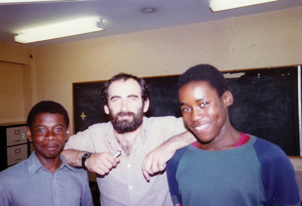 Clockwise from top left: Dylan Wiliam with Philip Jemmott (left) and Colin MacDonald, two year 10 students from North Westminster Community School, summer 1984