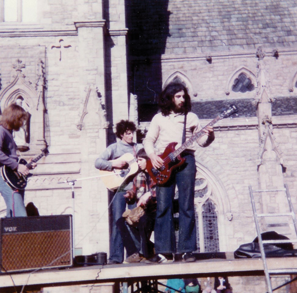 "with Tom Sanders, Phil Hill and Oliver St John (aka ""Lynx"") in Durham's Market Square, summer 1974"