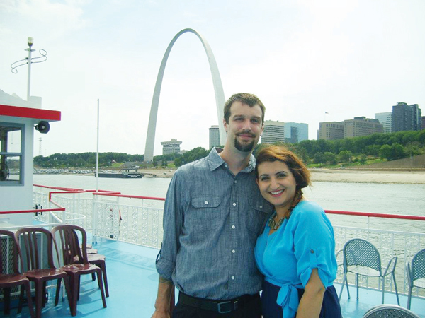Rajbir and husband Chad at the Gateway Arch, St Louis, Missouri, in 2012