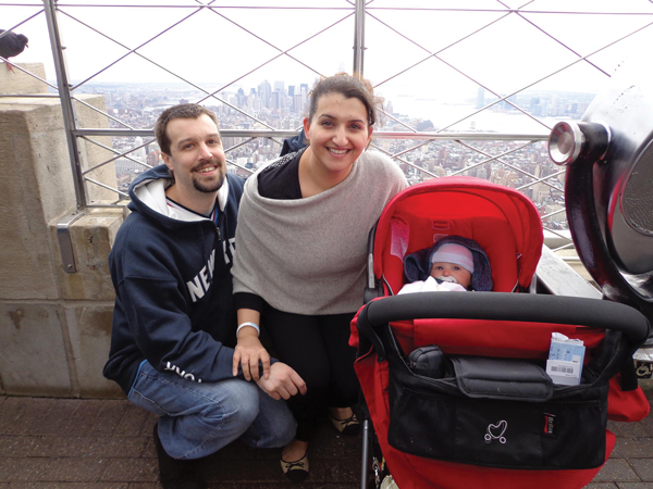 Rajbir, Chad and four-month-old Zavier at the top of the Empire State Building in 2013
