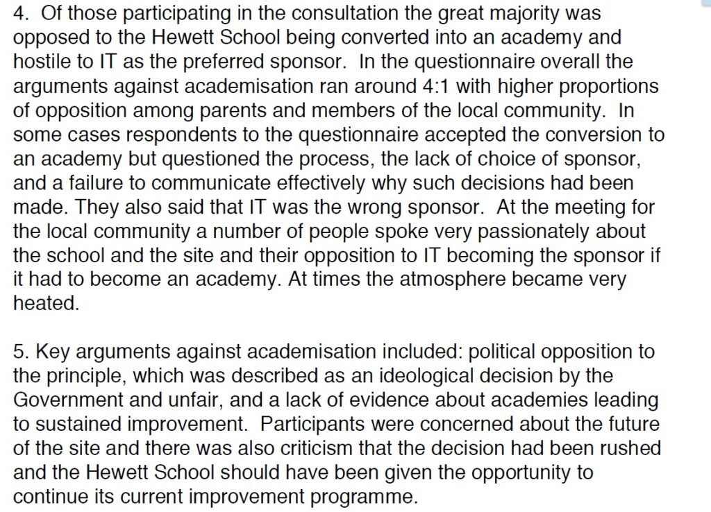 Extracts from the consultation's key findings
