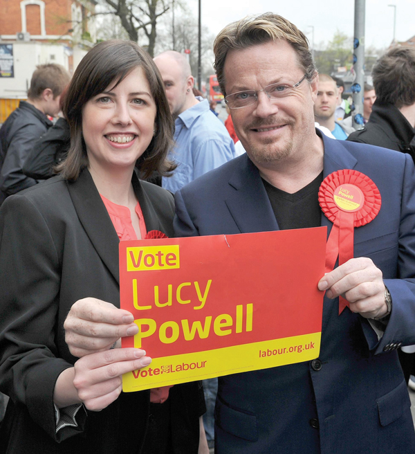 Powell with comedian Eddie Izzard