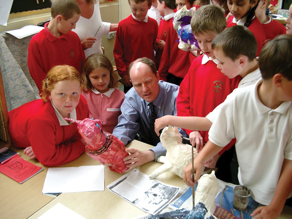 Nick Gibb visiting Rose Green Junior school in 2003