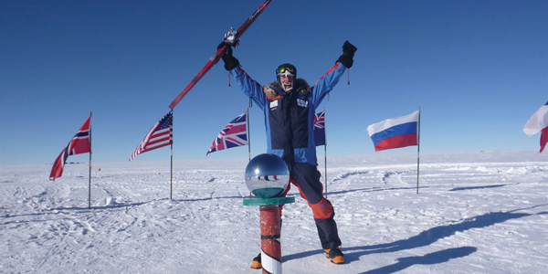 Saturday January 10, 2015, Julian reaches the South Pole. Only about 300 people have completed the trek without assistance since 1911