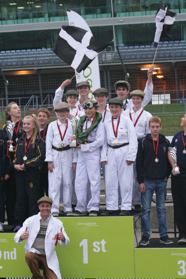 The Retro Rocket team from Sir James Smith's School celebrate their win