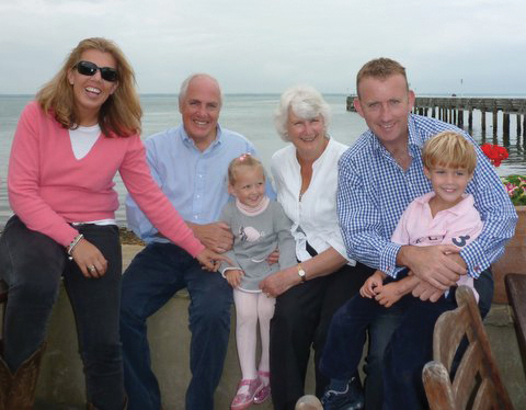 Roy, his wife Veronica, daughter Elisabeth, son-in-law Paul and grandchildren Sophie and Alex