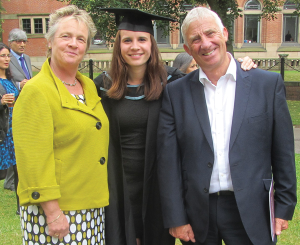 With wife Carole and daughter Rachel at Birmingham University