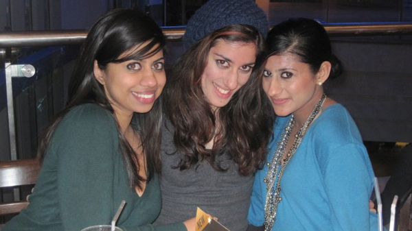 November 2009: Natasha's sister Aneesha, left (18) and cousin, Shaan, middle (21), out at dinner. Natasha is 21 and a few months into her teaching career