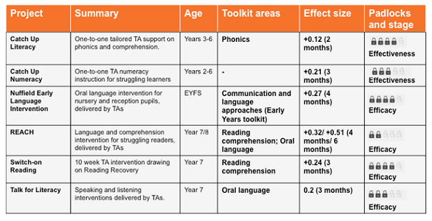 Table 1. Summary of RCT evaluation results for EEF-funded, TA-led interventions
