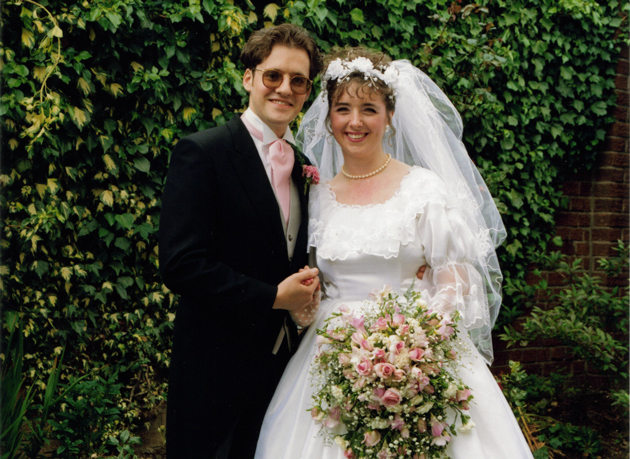 With Alan on their wedding day