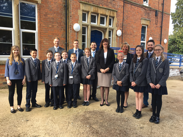 Morgan visits Lutterworth college, Leicestershire