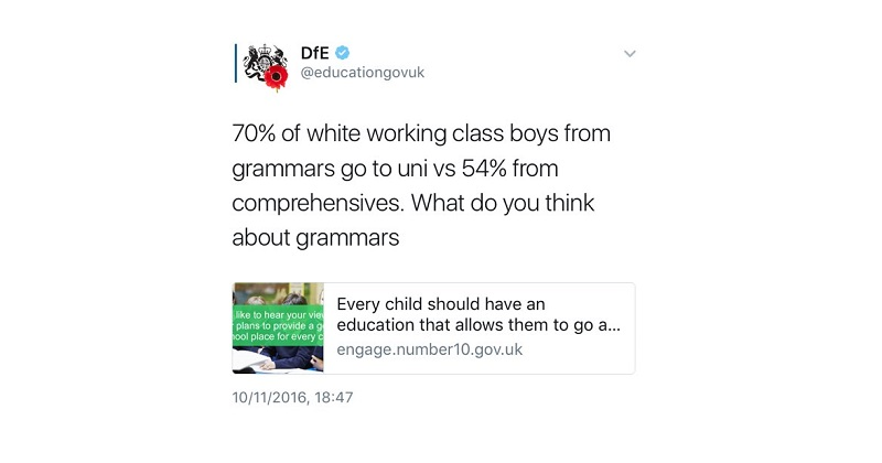 Stats watchdog slams DfE for grammar schools tweet