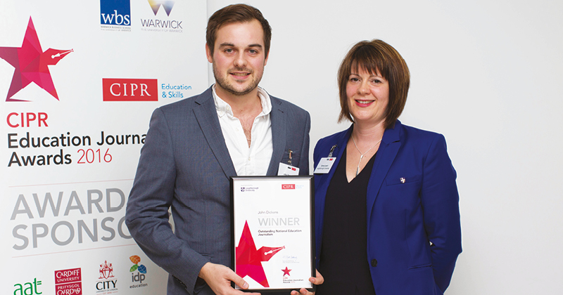 Schools Week chief reporter John Dickens scoops top CIPR award