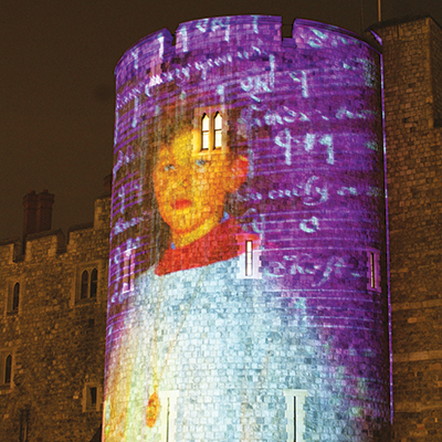 A chorister is projected onto Windsor castle