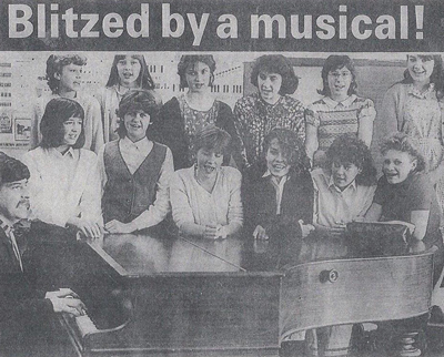 1985: Carter on piano during his first term as head of music at a Reading school