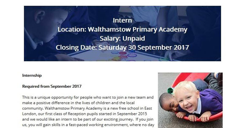 United Learning removes advert for 'unpaid internship' in school after MP complains
